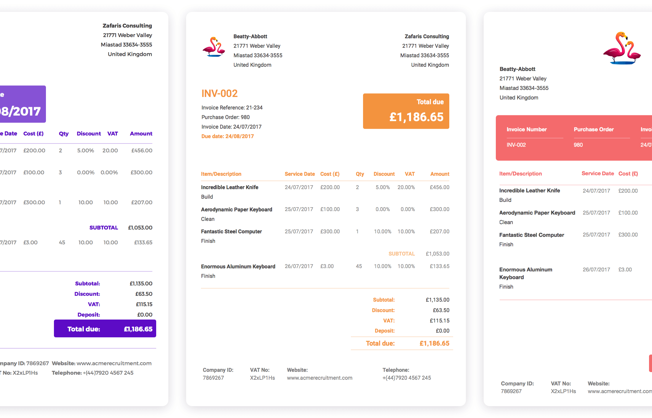 Easy to customise invoices