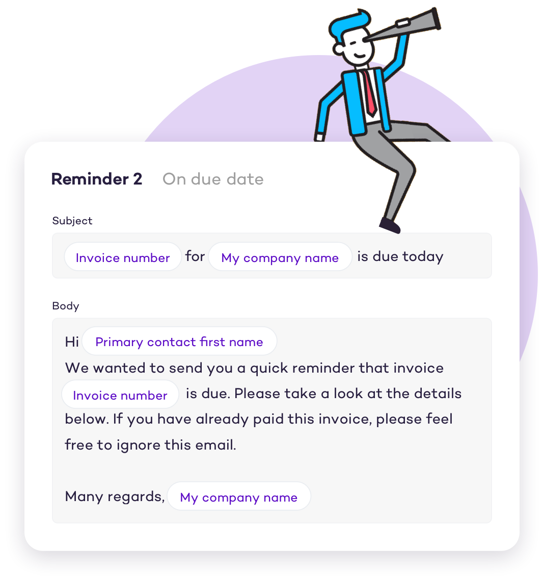 Customise your invoice email reminders